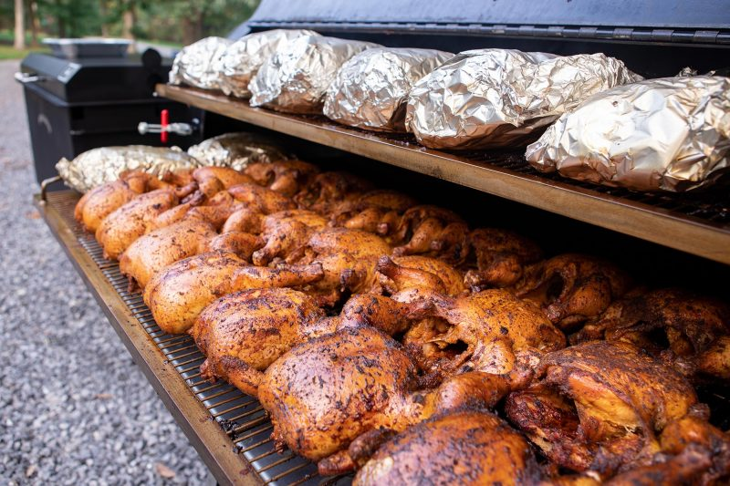 Chicken and Pork Butts on Meadow Creek BBQ Smoker